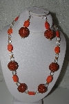 "+MBAHB #31-052  ""One Of A Kind Orange & Clear Glass Bead Necklace & Earring Set"""