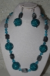 "+MBAHB #31-063  ""One Of A Kind Blue & Grey Bead Necklace & Earring Set"""