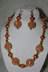 "+MBAHB #31-071  ""One Of A Kind Orange Bead Necklace & Earring Set"""
