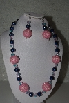 "+MBAHB #31-078  ""One Of A Kind Pink & Blue Bead Necklace & Earring Set"""