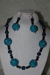 "+MBAHB #31-083  ""One Of A Kind Blue & Black Bead Necklace & Earring Set"""