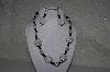 "+MBAHB #31-090  "" One Of A Kind White, Clear & Black Bead Necklace & Earring Set"""