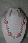 "+MBAHB #31-126  ""One Of A Kind Pink, Clear & Rose Quartz Nugget Bead Necklace & Earring Set"""