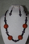 "+MBAHB #31-136  ""One Of A Kind Orange, Black & Purple Bead Necklace & Earring Set"""