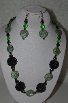 "+MBAHB #31-151  ""One Of A Kind Green & Black Bead Necklace & Earring Set"""
