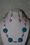 "+MBAHB #31-188  ""One Of a Kind Pink, Blue & Clear Bead Necklace & Earring Set"""