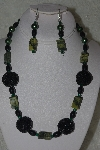 "+MBAHB #31-173  ""One Of A Kind Black, Green & Yellow Turquoise Bead Necklace & Earring Set"""
