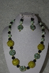 "+MBAHB #31-167  ""One Of A Kind Yellow & Green Bead Necklace & Earring Set"""