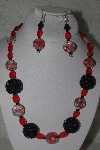 "+MBAHB #31-194  ""One Of A Kind Red & Black Bead Necklace & Earring Set"""