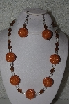"+MBAHB #32-002  ""One Of A Kind Orange, Clear & Brown Bead Necklace & Earring Set"""