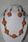 "+MBAHB #32-013  ""One Of A Kind Orange, Clear & Brown Bead Necklace & Earring Set"""