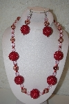 "+MBAHB #32-019  ""One Of a Kind Red & Clear Bead Necklace & Earring Set"""