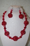 "+MBAHB #32-023 ""One Of A Kind Red Bead Necklace & Earring Set"""