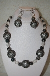 "+MBAHB #32-039  ""One Of A Kind Grey Marble & Clear Bead Necklace & Earring Set"""
