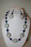 "+MBAHB #32-044  ""One Of A Kind Blue & Silver Bead Necklace & Earring Set"""