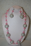 "+MBAHB #32-049  ""One Of A Kind Pink & Clear Bead Necklace & Earring Set"""