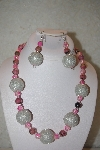 "+MBAHB #32-055  ""One Of A Kind Pink & Silver Bead Necklace & Earring Set"""