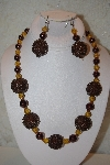 "+MBAHB #32-064  ""One Of A Kind Brown & Golden Bead Necklace & Earring Set"""