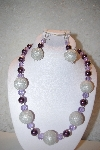 "+MBAHB #32-071  ""One Of A Kind Purple, Lavender & Silver Bead Necklace & Earring Set"""
