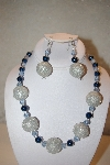 "+MBAHB #32-077  ""One Of A Kind Blue & Silver Bead Necklace & Earring Set"""