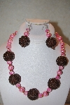 "+MBAHB #32-089  ""One Of A Kind Pink & Brown Bead Necklace & Earring Set"""