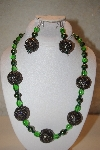 "+MBAHB #32-094  ""One Of A Kind Green Bead Necklace & Earring Set"""