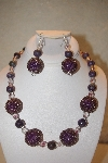 "+MBAHB #32-099  ""One Of A Kind Purple & Clear Bead Necklace & Earring Set"""