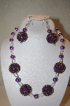 "+MBAHB #32-104  ""One Of A Kind Purple & Clear Bead Necklace & Earring Set"""