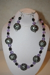 "+MBAHB #32-113  ""One Of A Kind Black & Lavender Bead Necklace & Earring Set"""