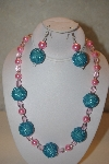 "+MBAHB #32-118  ""One Of A Kind Blue & Pink Necklace & Earring Set"""
