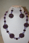 "+MBAHB #32-129  ""One Of A Kind Purple Bead Necklace & Earring Set"""