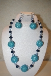 "+MBAHB #32-149  ""One Of A Kind Blue Bead Necklace & Earring Set"""