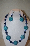 "+MBAHB #32-153  ""One Of A Kind Blue Bead Necklace & Earring Set"""