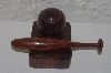 "**MBAMG #0031-123  ""Rose Wood Fancy Hand Carved Baseball, Bat & Stand"""