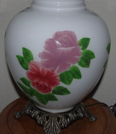 """MBAMG #0031-144 ""Large White Milk Glass Hand Painted Rose Lamp"""
