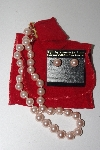 MBAMG #099-104  Kenneth Jay Lane's Pink Simulated Pearl Necklace & Earring Set""