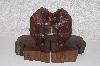 "**MBAMG #099-271  ""Large Hand Carved Grizzly Rose Wood Bookends"""