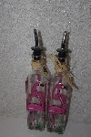 "**MBAMG #099-237  ""Set Of 2 Buckenhams Palate Pink Flamingo Hand Painted All Purpose Bottles With Pour Spouts"""