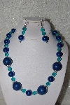 "mbahb #00013-8417  ""One Of a Kind Blue Bead Necklace & Earring Set"""