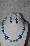 One Of A Kind Blue & Pink Necklace & Earring Set""