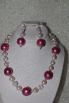 "MBAHB #00013-8424  ""One Of A Kind Pink Bead Necklace & Earring Set"""