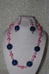 "MBAHB #00013-8428  ""One Of A Kind Pink & Blue Bead Necklace & Earring Set"""