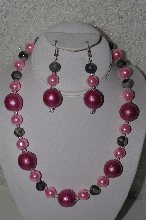"MBAHB #00013-8471  ""One Of A Kind Pink & Grey Bead Necklace & Earring Set"""