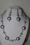 "MBAHB #00013-8466  ""One Of A Kind Silver, Green & Pink Bead Necklace & Earring Set"""
