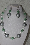 "MBAHB #00013-8461  ""One Of A Kind Clear, Green & Silver Bead Necklace & Earring Set"""