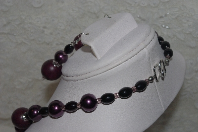 "MBAHB #00013-8456  ""One Of a Kind Purple & Black Bead Necklace & Earring Set"""