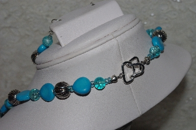 "MBAHB #00013-8452  ""One Of A Kind Blue & Silver Bead Necklace & Earring Set"""