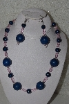 "MBAHB #00013-8438  ""One Of A Kind Blue & Pink Bead Necklace & Earring Set"""