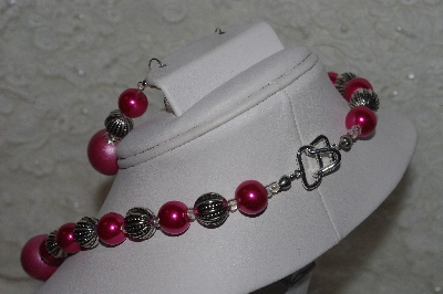 "MBAHB #00013-8432  ""One Of A Kind Pink & Silver Bead Necklace & Earring Set"""