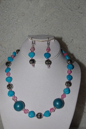 "MBAHB #00013-8420  ""One Of A Kind Blue, Pink & Silver Bead Necklace & Earring Set"""